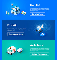 Hospital first aid and ambulance banners of vector