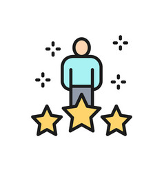 Human with big stars worker rating vector