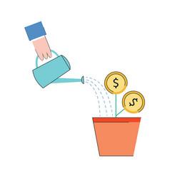 investment concept money plant glow icon vector image