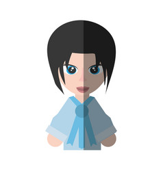 Japanese girl student uniform shadow vector