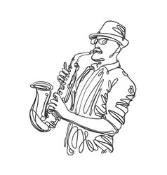 Jazz saxophone player in linear style music vector