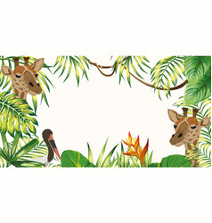 Jungle frame giraffe stork leaves white background vector