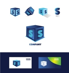 Letter S blue cube logo icon vector