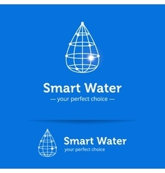 Line style clean water drop logo Wireframe vector