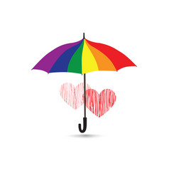love heart sign over umbrella protection vector image