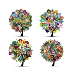 Mandala tree set floral sketch for your design vector
