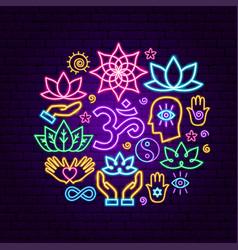 meditation neon concept vector image