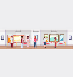mix race visitors in modern art gallery museum vector image