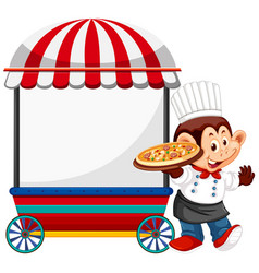 Monkey chef with vendor cart vector
