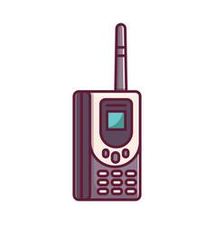 Old retro vintage brick cellular phone vector