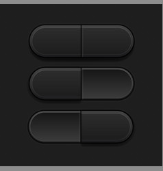 on and off pushed buttons black 3d oval icons vector image