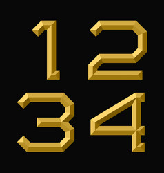 One two three four gold faceted numbers trendy vector