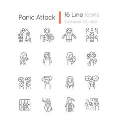 Panic disorder linear icons set vector