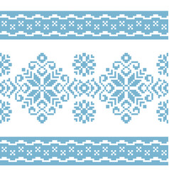 pattern for knitting with blue and white ornament vector image