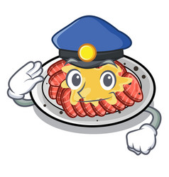 Police carpaccio is served on cartoon plates vector
