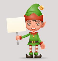 Poster broadsheet advert christmas elf boy santa vector