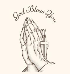 Prayer hand with cross vector