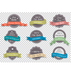 premium quality labels on transparent background vector image