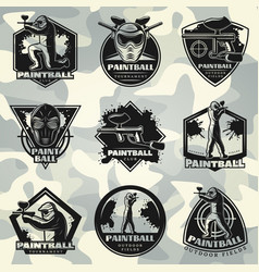 Premium vintage paintball club labels set vector