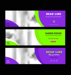 Purple web banners templates horizontal web banne vector