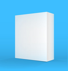Realistic Blank Blue White Packaging Box Template vector image