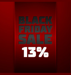 Red ribbon with black friday sale thirteen percent vector