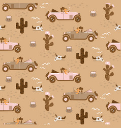 Retro seamless pattern with retro car race in sand vector