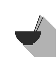 rice in bowl with chopstick flat icon vector image