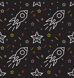 rocket seamless pattern with stars vector image