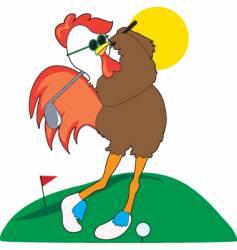 rooster golfer vector image