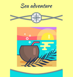 Sea adventure headline poster vector
