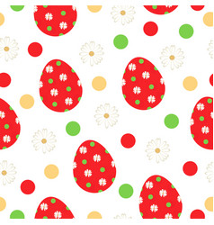 Seamless pattern with red easter eggs vector
