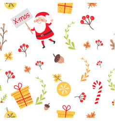 seamless pattern with santa christmas decorations vector image