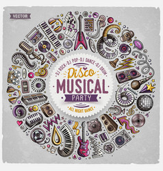 set of cartoon doodle musical objects vector image