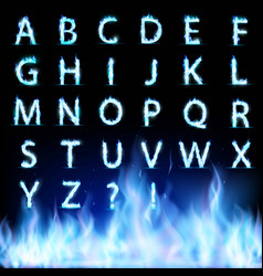 set of letters font burning with a blue flame vector image
