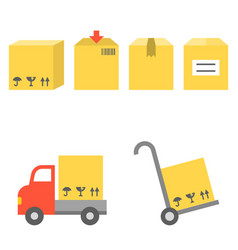 Shipping and handtruck icons set vector