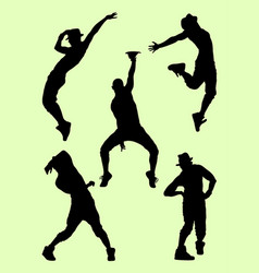Silhouette of male dancer 04 vector