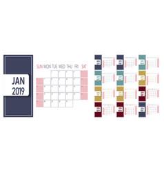 simple 2019 new year calendar template week vector image