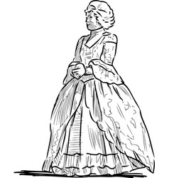 Sketch woman in historical costume noble vector
