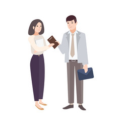 Smiling man giving notepad to woman pair vector