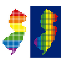 spectrum pixel dotted new jersey state map vector image