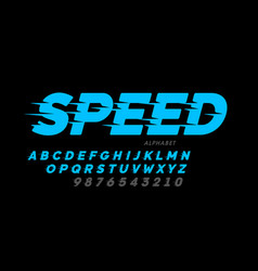 Speed style font design alphabet and numbers vector