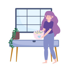 stay at home woman with bowl dessert cartoon vector image