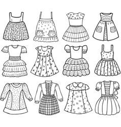 styles of various dresses for little girls vector image