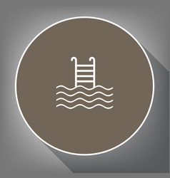 swimming pool sign white icon on brown vector image
