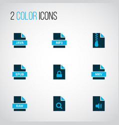 types icons colored set with fie raw file mp3 vector image