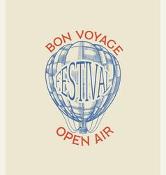 vintage hot air balloon badge retro flying vector image