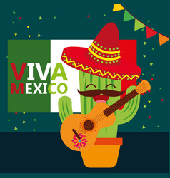 viva mexico celebration vector image