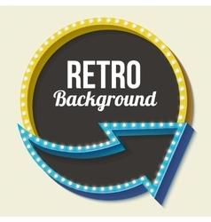 Volume retro circle with an arrow and light bulbs vector image