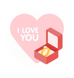 Wedding diamond ring in a box vector image